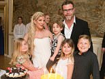 EXCLUSIVE TO INF. May 19, 2016: Tori Spelling celebrates her 43rd birthday at NaesbyHolm Castle in Denmark. Pictured here: Tori Spelling, Liam McDermott, Stella McDermott, Hattie McDermott, Finn McDermott, Dean McDermott Mandatory Credit: INF/Startraks  Ref: infusny-176