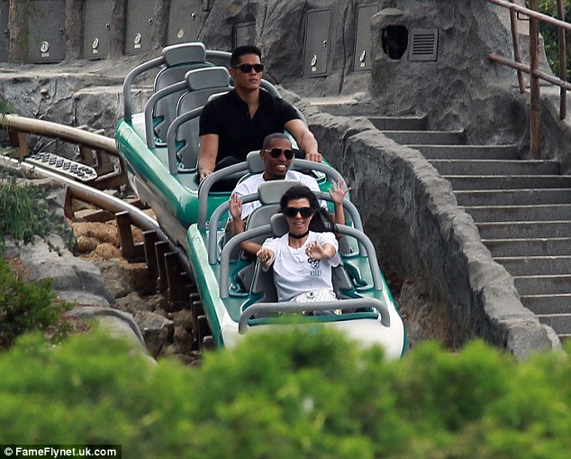Family fun: Her eldest Mason sat right behind her on the ride