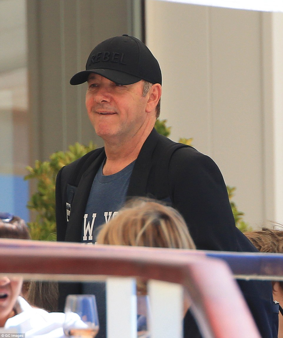 Joining the party: Kevin Spacey was on fine form as he enjoyed a day out at the film festival