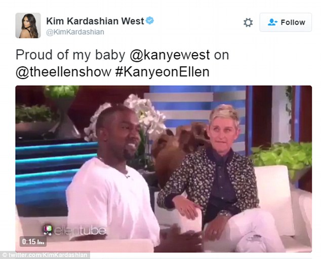 Supportive wife: Kim took to her Twitter after Ellen's show aired to say how proud she was of her husband