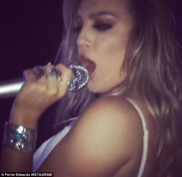 'I don't wanna rock DJ': Perrie Edwards showed off her performance skills on Wednesday evening as she enjoyed a boozy night out with the rest of Little Mix at a karaoke bar