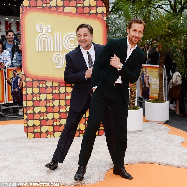 Cheeky chappies: The pair proved to be quite the double act as they made their way to the Odeon