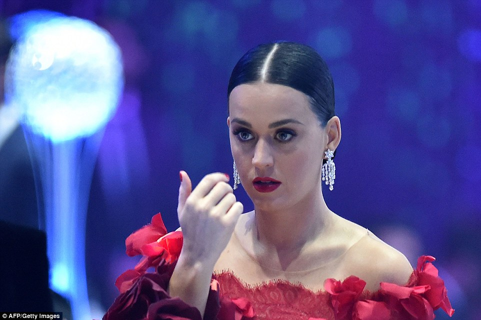 A serious moment: Aside from goofing around, Katy Perry looked very serious for a moment