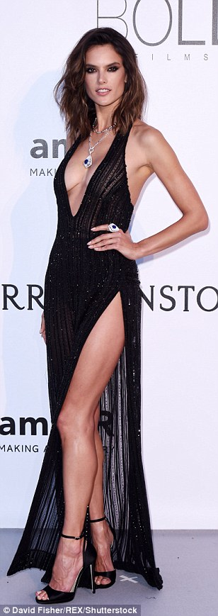 Perfect pins: Karlie Kloss, Heidi Klum and Alessandra Ambrosio showcased their remarkably long legs in gowns with perilously high splits