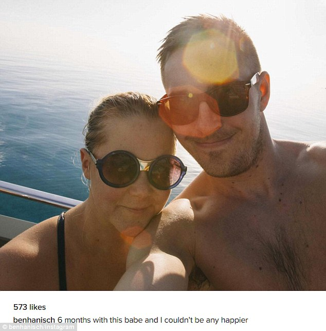 Smitten: Amy Schumer's beau, Ben Hanisch, 29, shared this sweet shot on Instagram on Thursday as the pair celebrate their first six months together
