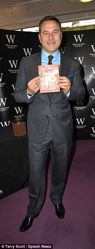 Excited: David Walliams was attending a book signing of his own, promoting his new children's novel, The World's Most Awful Children