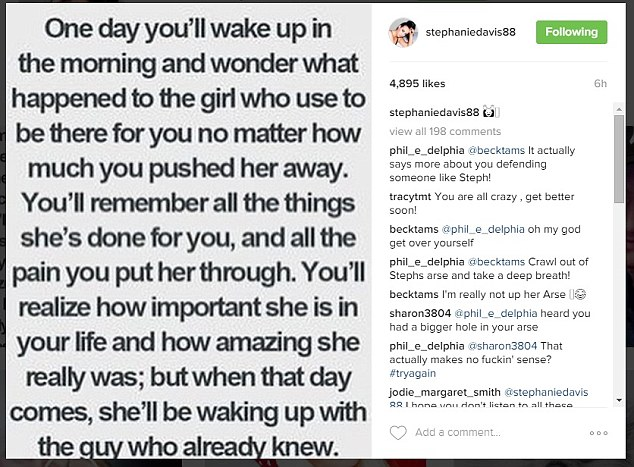 Opening up: Additionally, just one hour after Jeremy's Twitter post, Stephanie sent a heartfelt and cryptic note on her Instagram, reading: 'One day you'll wake up in the morning and wonder...