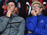 Common interests: Niall Horan was spotted enjoying some time with sporting superstar Rory McIlroy at the rugby on Friday