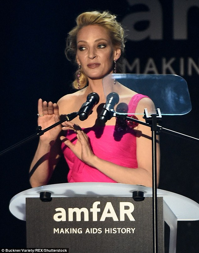 Chatty, chatty: The blonde addressed the crowd with a speech on an autocue