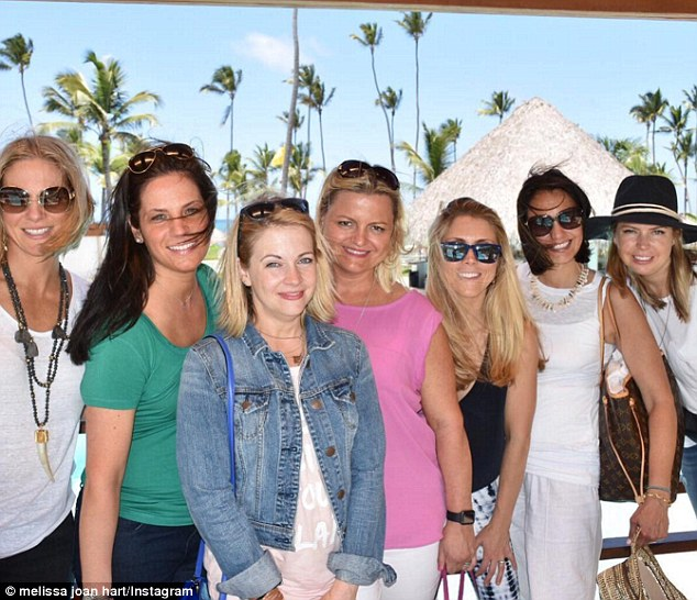 Ready for vacation: The ladies posed up together in a snap Joan said was 'the most behaved we will be all weekend'
