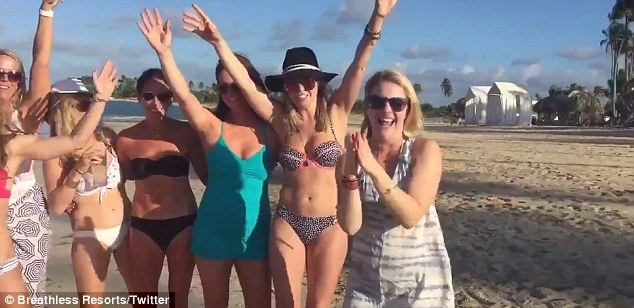 Beach babes: The mother-of-three happily introduced her friends