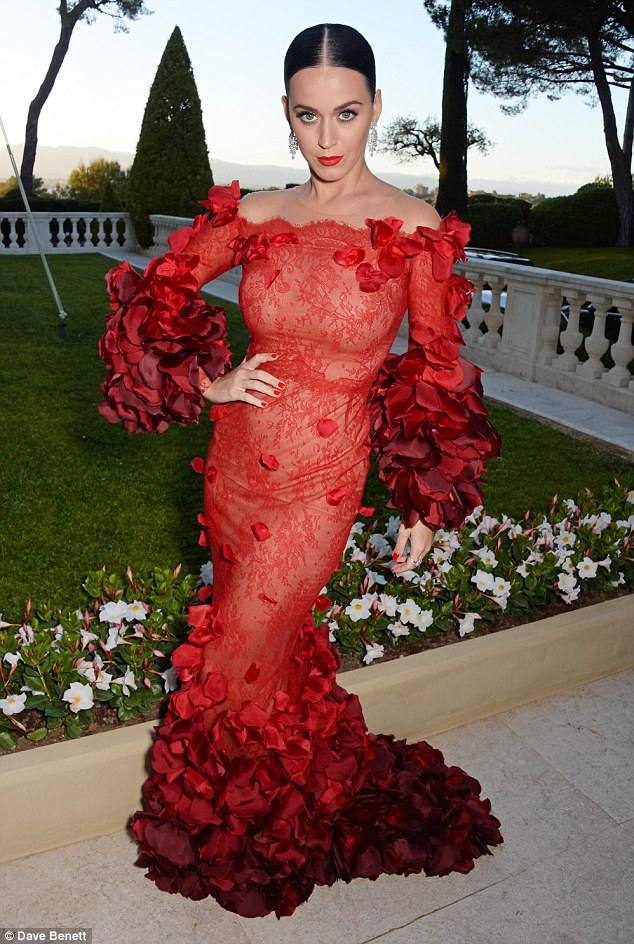 Show-stopper: Katy ditched her Flamenco-inspired ensemble from earlier in the evening