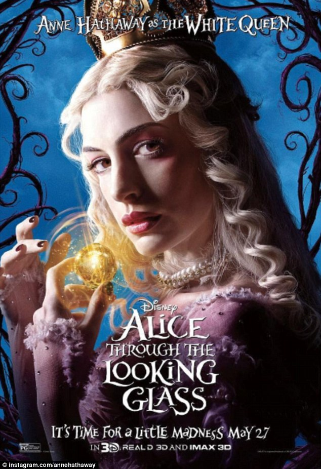 Hard at work: Recently Anne has been promoting Disney film Alice Through the Looking Glass - also starring Johnny Depp, Mia Wasikowska, and Helena Bonham Carter - which hits theaters May 27