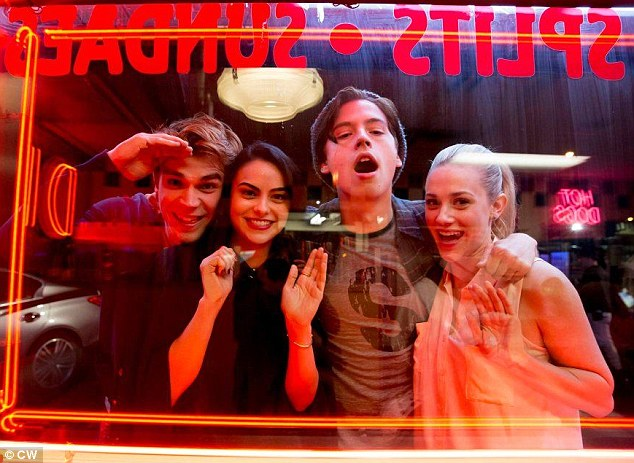 Too cool for school: The cast of CW's new high school drama Riverdale (L-R KJ Apa, Camila Mendes, Cole Sprouse and Lili Reinhart) in a new still released on Thursday