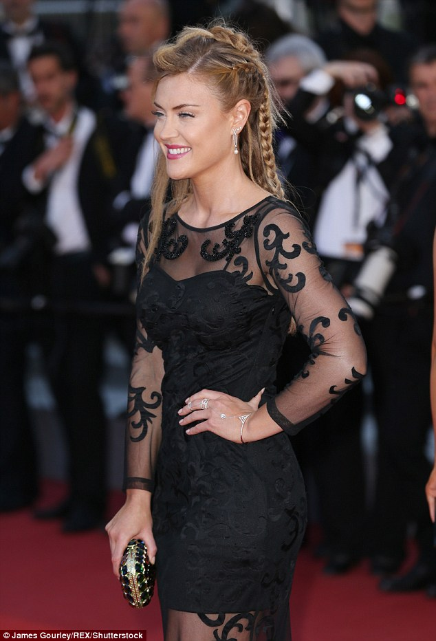 Show-stopping: Rugby WAG Camilla Kerslake stepped out solo for the Bacalaureat premiere at the 69th annual Cannes Film Festival in France on Thursday night