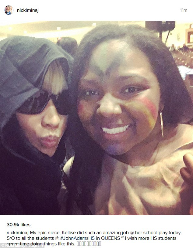 Mystery woman: Nicki Minaj managed a disguise in hood and dark shades to watch her niece Kellise perform in her high school play in Queens, NY on Thursday and proved it worked by sharing this selfie