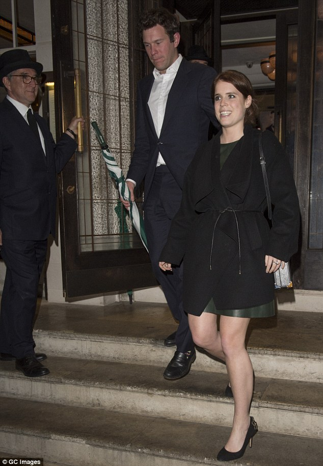 The youngest daughter of Prince Andrew and Sarah Ferguson wore a forest-green leather dress with bejewelled skyscraper stilettos to accentuate her pins, topped with a tailored but modern black coat