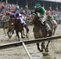 May 21, 2016; Baltimore, MD, USA; Kent Desormeaux aboard Exaggerator (5) wins during the 141st running of the Preakness Stakes at Pimlico Race Course. Mandatory Credit: Tommy Gilligan-USA TODAY Sports