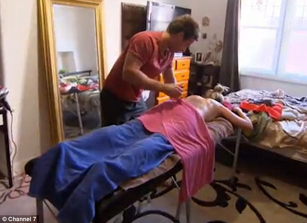 Putting those skills to work! Eventually, Jackie forgave Tim for his indiscretion and he gave her a 90 minute massage in their Melbourne home