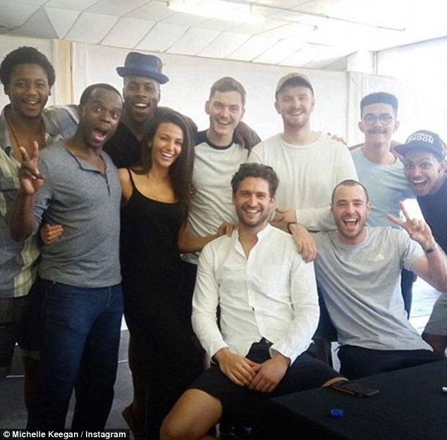 Rumours: Michelle had innocently shared a group picture with some of the cast at their read through, when fans linked her andhandsome actor Ben Aldridge (centre, seated)