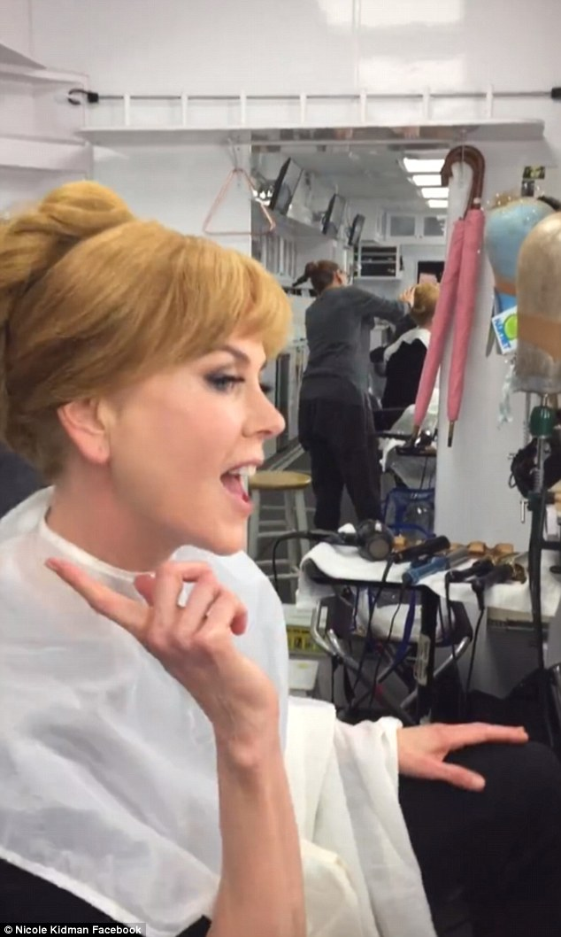 Dancing:In a hilarious video posted to her Facebook page, the dual Oscar-winning actress can't help but dance along to a track in her dressing room