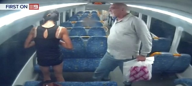 CCTV shows how Marlin initially approaching the woman on the train near Ingleburn, Sydney's southwest, to shake her hand and then swings his arm to hit her face
