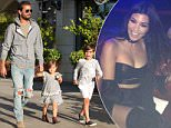 *EXCLUSIVE* Calabasas, CA - Scott Disick takes his kids Penelope and Mason Disick on a Sunday Funday while Kourtney Kardashian is in Vegas for an appearance at the Aria Hotel & Casino. The little trio spent the afternoon in the Calabasas Commons watching a movie then grabbing some Sugarfish for dinner. The father of three holds hands with his daughter and looks happy to spend time with his kids while Kourtney is gone.\nAKM-GSI      May 22, 2016\nTo License These Photos, Please Contact :\nSteve Ginsburg\n(310) 505-8447\n(323) 423-9397\nsteve@akmgsi.com\nsales@akmgsi.com\nor\nMaria Buda\n(917) 242-1505\nmbuda@akmgsi.com\nginsburgspalyinc@gmail.com