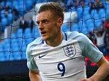 Jamie Vardy of England celebrates scoring the 2nd goal during the International friendly match between England and Turkey played at The Etihad Stadium, Manchester on May 22nd 2016