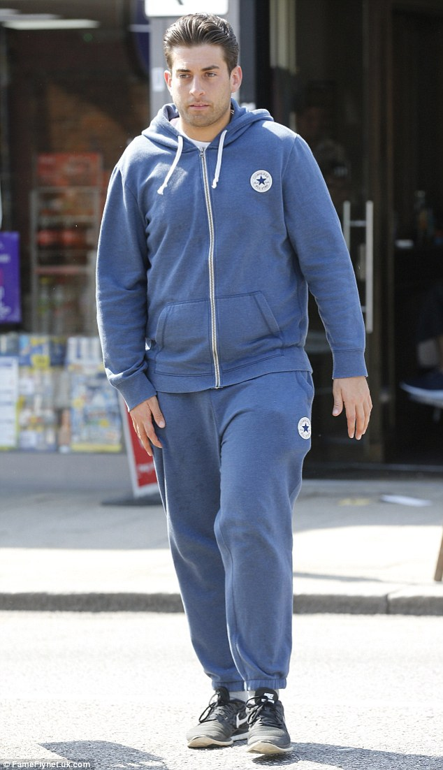 Back home: To celebrate shedding 30Ibs at a Norfolk bootcamp, TOWIE star James 'Arg' Argent hit his hometown of Essex recently for a spot of pampering