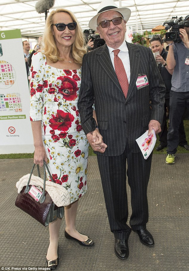Newlyweds: Jerry Hall and a panama-wearing Rupert Murdoch also attended the annual flower event