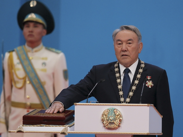 FILE - In this Wednesday April 29, 2015 file photo, Kazakhstan's President Nursultan Nazarbayev, the 74-year-old incumbent, who has ruled over the former Sov...