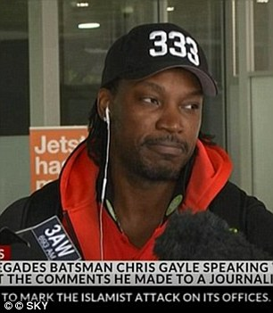 Last year, Gayle dismissed 'sleazy' comments made to Channel Ten reporter Mel McLaughlin as a 'simple joke'