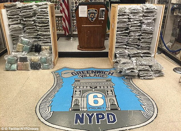 Massive haul: In this February 2016 photo, the NYPD shows off some 300 pounds of cannabis seized in a raid in the West Village