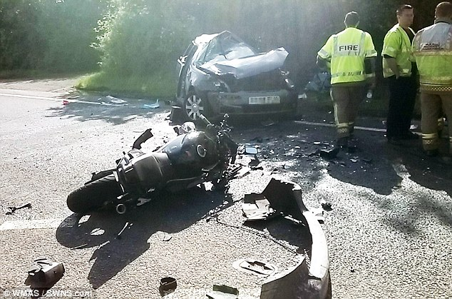 Crash scene: The drivers of the other vehicles were left with serious injuries some of which were deemed life changing