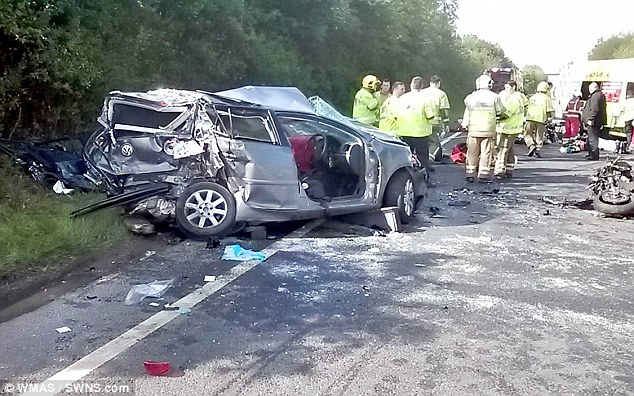 Destruction: Investigating Officer, PC Craig Marshall of Warwickshire Police' Operational Patrol Unit said: 'We have issued the footage, with the agreement of the families of those affected by the incident, as a warning to drivers to pay attention when behind the wheel'