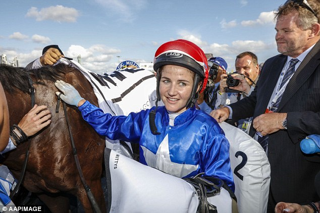 Melbourne cup-winning jockey Michelle Payne (pictured) has been rushed to hospital with abdominal pains after falling from her horse at the Mildura Races