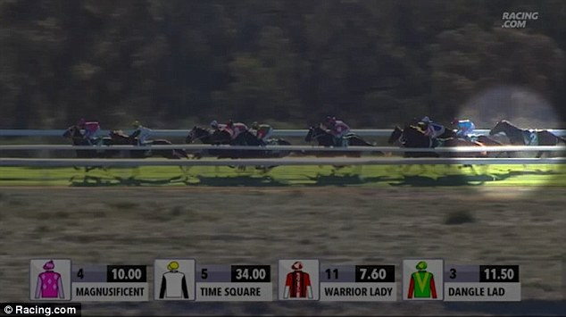 Footage shows the young jockey's mare Dutch Courage, trained by her brother Patrick, toward the back of the pack during the seventh race
