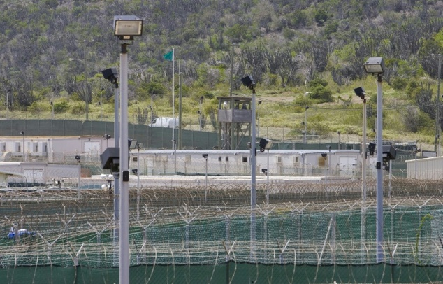 A view over the fence into the minimum security section of Camp Delta on April 24, 2007 on the US Naval Station in Guantanamo Bay, Cuba