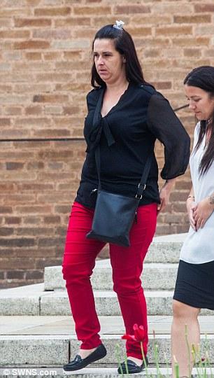 Pictured, the mother of Keenan Walsh, Heide Jordan leaves Devon County Hall