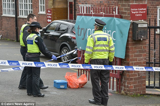 She was attacked as she walked past the car park of Trinity Hill Baptist Church, near the centre of Sutton Coldfield, West Midlands (pictured)