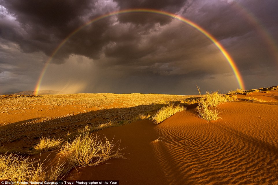 Over the last seven years Stefan Forster had one aim - photograph rain in the driest desert of Africa. In 2015 he finally found the rain in the breathtaking scenery of the Namibrand Park right at the border of the Namib Naukluft National park. An enormous thunderstorm came in and the setting sun created a wonderful rainbow. He said the challenge was to keep his shadow out of the picture
