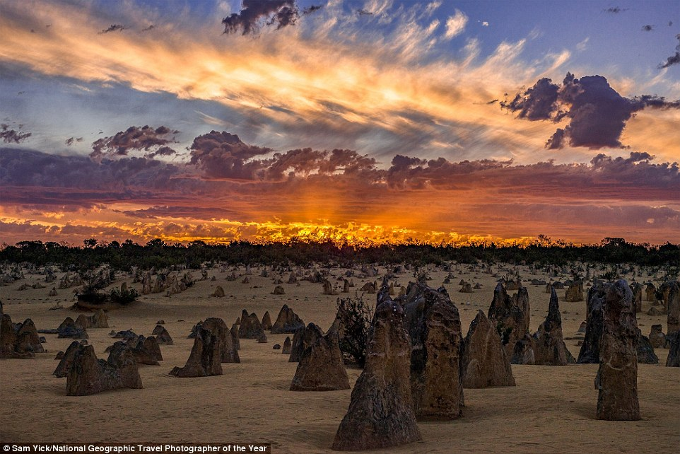 Sam Yick took this spectacular image of the Pinnacles, a limestone formation within Nambung National Park, near the town of Cervantes, in western Australia