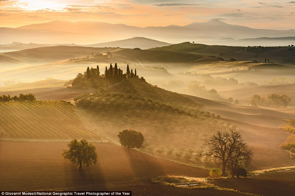 One of the most breathtaking captures in the contest so far is this mesmirising image of a beautiful sunrise in Tuscany, entered  by Giovanni Modesti