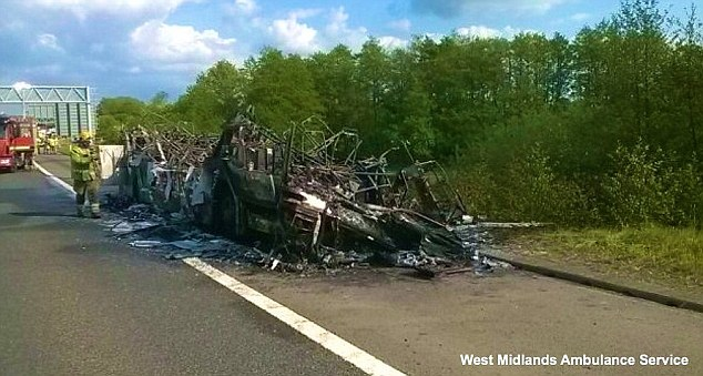 The driver  and 13 of the pupils - all from the Black Country - were assessed for smoke inhalation