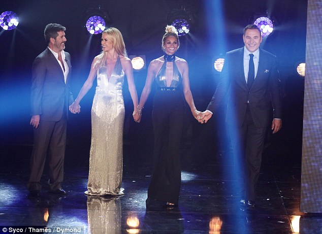 Taking the stage: Britain's Got Talent judges Simon Cowell, Amanda Holden, Alesha Dixon and David Walliams put on a united front during the semi-final on Monday evening