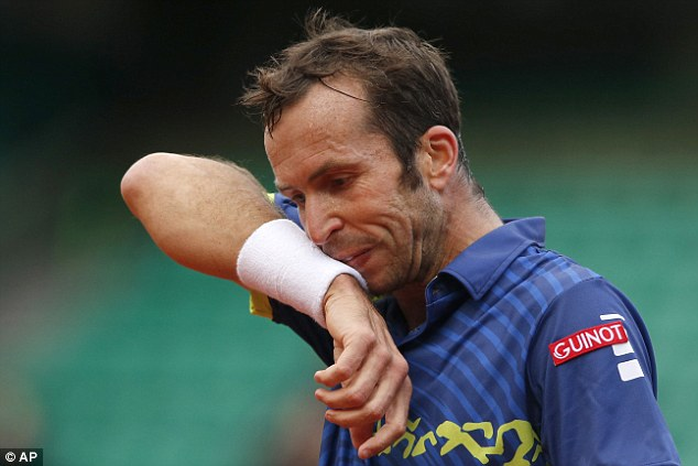 A wearyStepanek feels the strain in the fourth set as he struggles to deal with a resurgent Murray