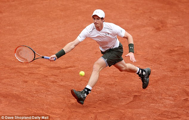 Andy Murray plays an early forehand during his French Open first-round clash withRadek Stepanek