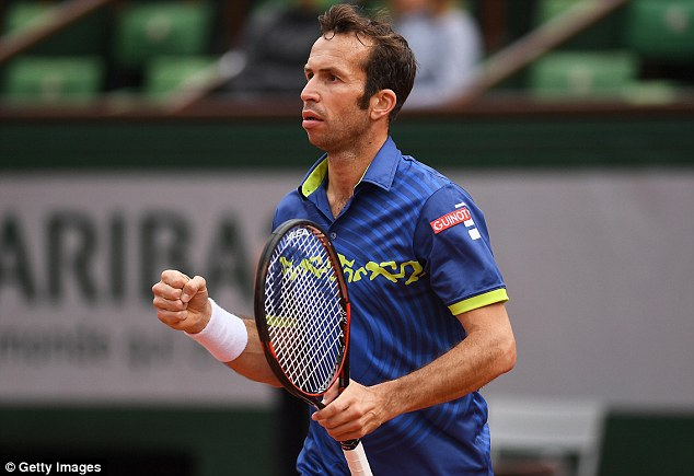 Stepanek celebrates an early point as the Czech veteran takes out the first set 6-3 at Roland Garros
