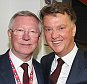 LONDON, ENGLAND - MAY 21:  (EXCLUSIVE COVERAGE) Former manager Sir Alex Ferguson and Manager Louis van Gaal of Manchester United celebrate with the FA Cup trophy after The Emirates FA Cup final match between Manchester United and Crystal Palace at Wembley Stadium on May 21, 2016 in London, England.  (Photo by Matthew Peters/Man Utd via Getty Images)