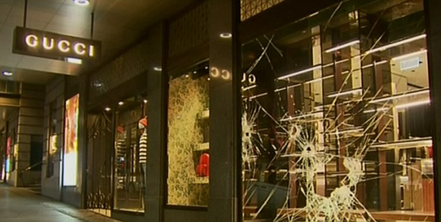 Police are searching for thieves who smashed their way into a Gucci store in Melbourne by using a sledgehammer